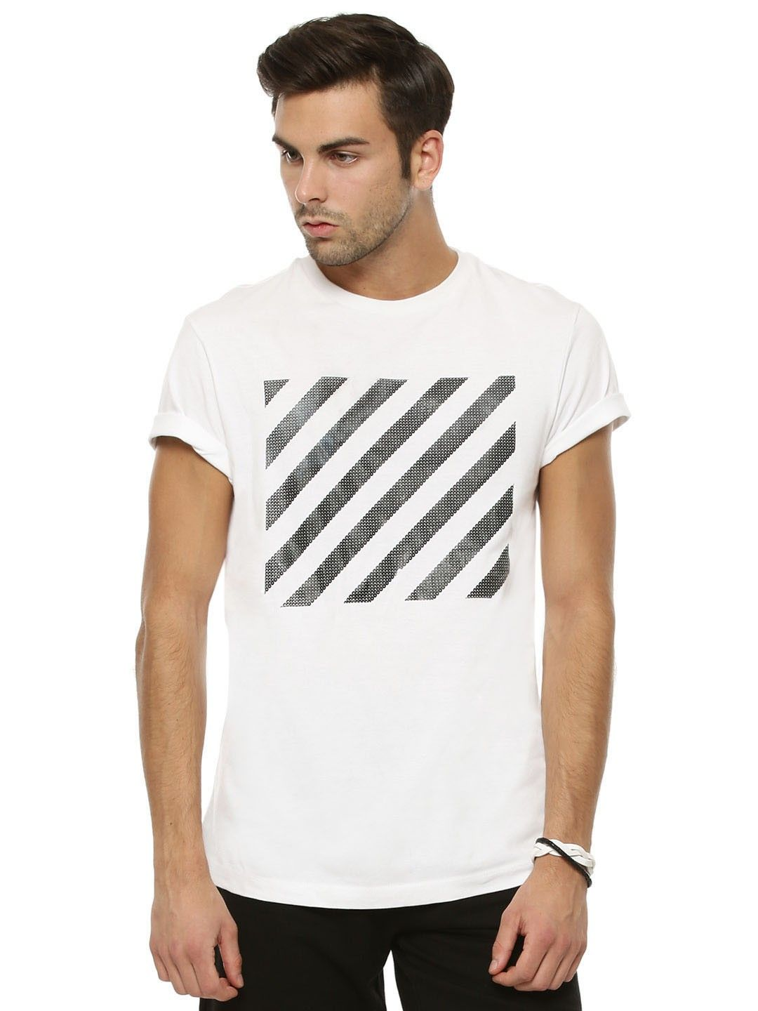 c1cfdb451 Buy KOOVS Sequin Print T-shirt Online at Best Price in India is Rs. 139. White  T-shirts For Men. Free Shipping, 15 day returns, Cash on Delivery.