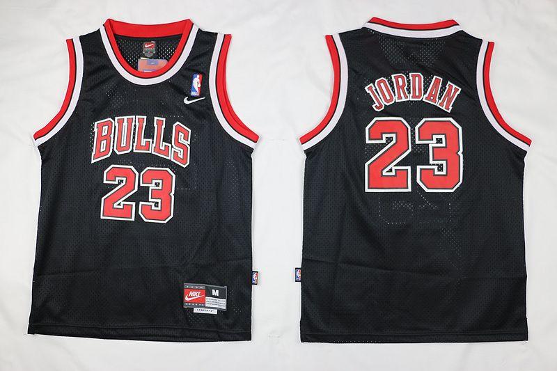 Chicago Bulls #23 Michael Jordan Black Pinstripe Swingman Jersey