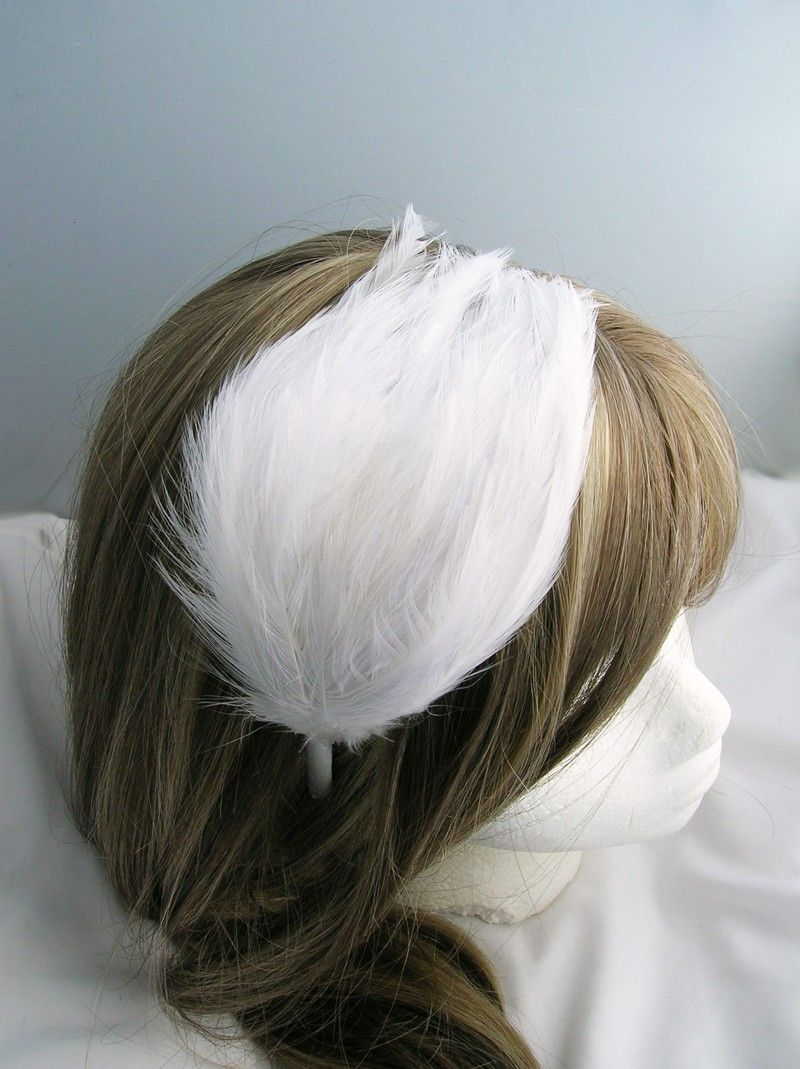 Pure White wedding feather fascinator - CHOOSE comb, headband or ...