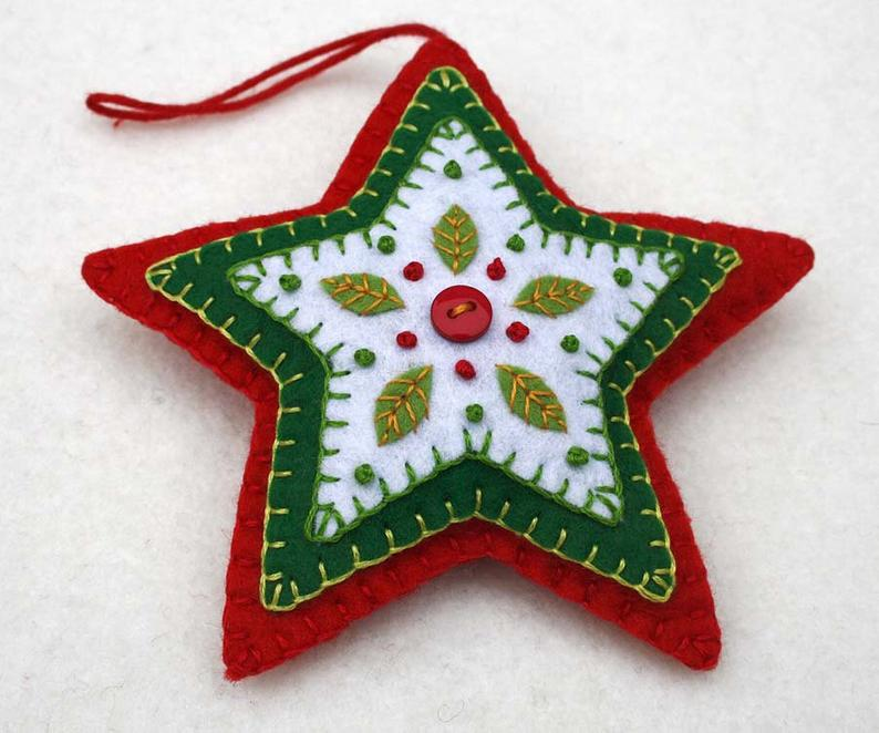 Star felt Christmas ornament, Red, white and green star Holiday ornament