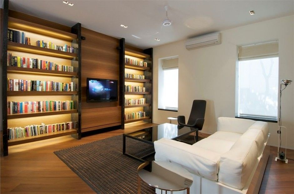 Modern Completely Contemporary Home Remodel Living Room With Large Library Bookshelves Design Ideas