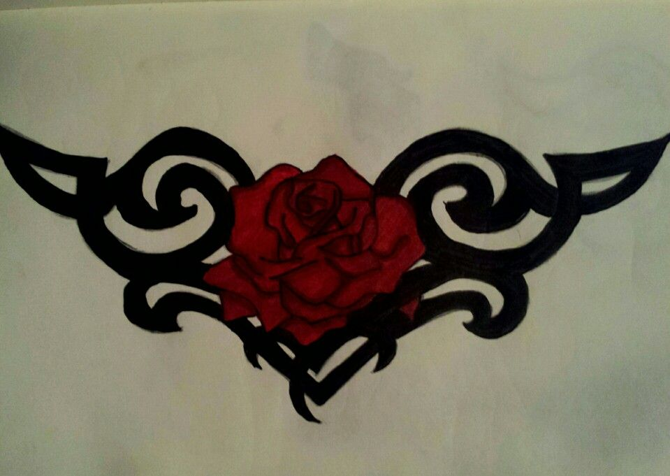 Tribal Celtic Knot Rose Tattoo Drawing Rose Tattoo Tattoo Drawings Tattoos