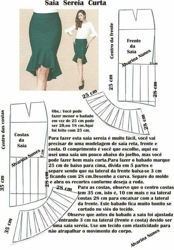 Falda sirena | Patrón De Diseño | Pinterest | Costura, Vestidos y Moldes