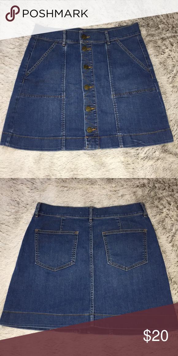 8aae9ea4bb Ann Taylor LOFT Petite Denim Skirt High waisted button down skirt great  condition runs true to size size 6/28 LOFT Skirts