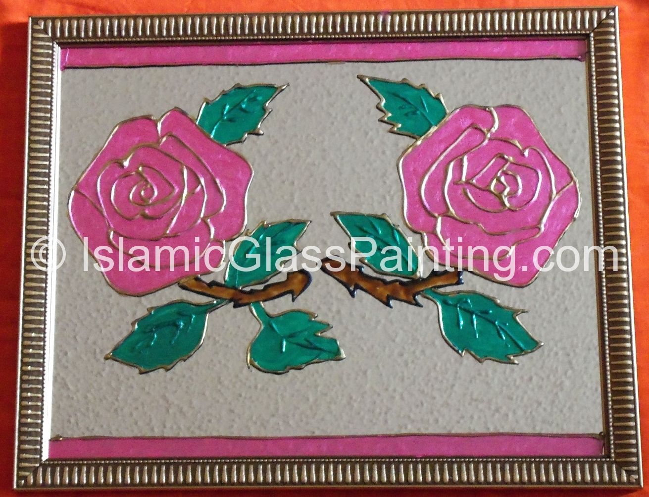 Surface mirror paint type glass gloss enamel design flower colors pink green brown frame thin border black with gold frame size 15 w by 12