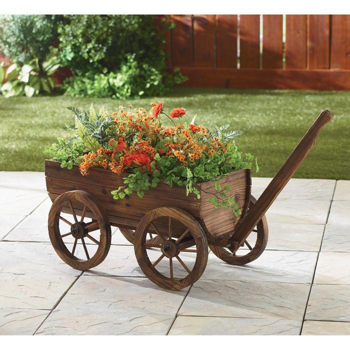 Small Green Wooden Decorative Rolling Wagon Garden Yard Art Decor Countryredbarn Wood Wagon Planter Box Plans Diy Planter Box