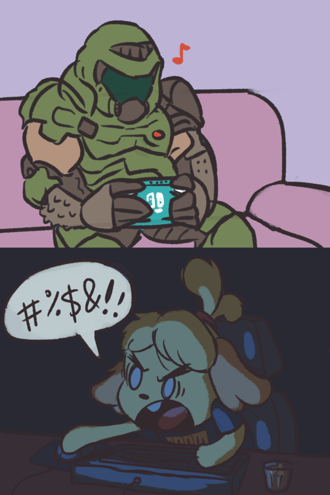 isabelle and doom guy memes