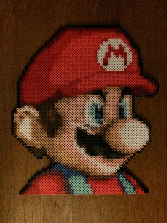 Super Mario bros Mario perler bead art by TheArteStudio on Etsy
