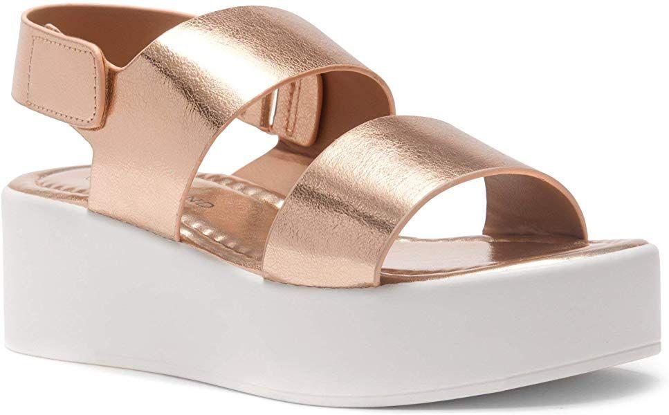 54b1c46220b Herstyle Belma Women s Open Toe Ankle Strap Platform Wedge Sandals Rose  Gold 7.5