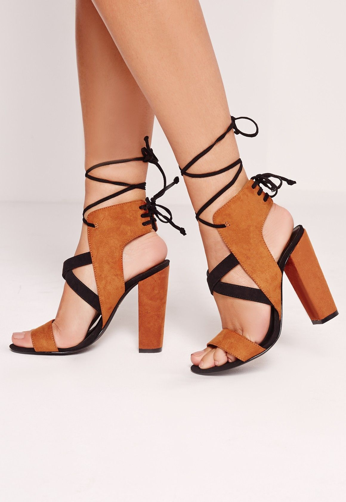 4f1172b0460 Missguided - Cross Strap Lace Back Block Heeled Sandals Brown