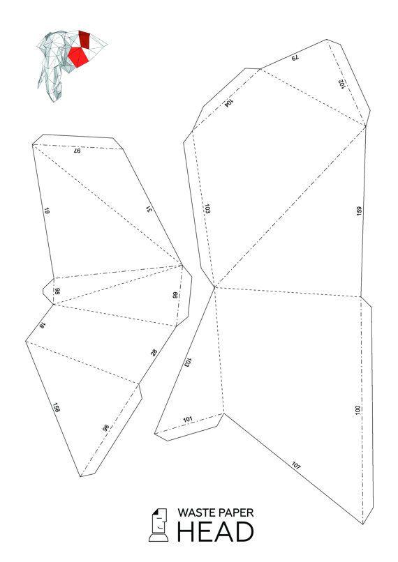 Papercraft elephant head 2 - printable DIY template | Elefantes ...