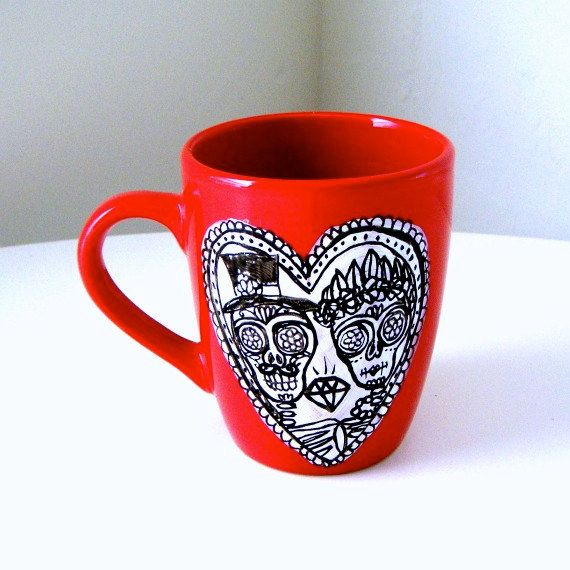 Ceramic Mug Day of the Dead Calavera Wedding Sugar by sewZinski, $30.00