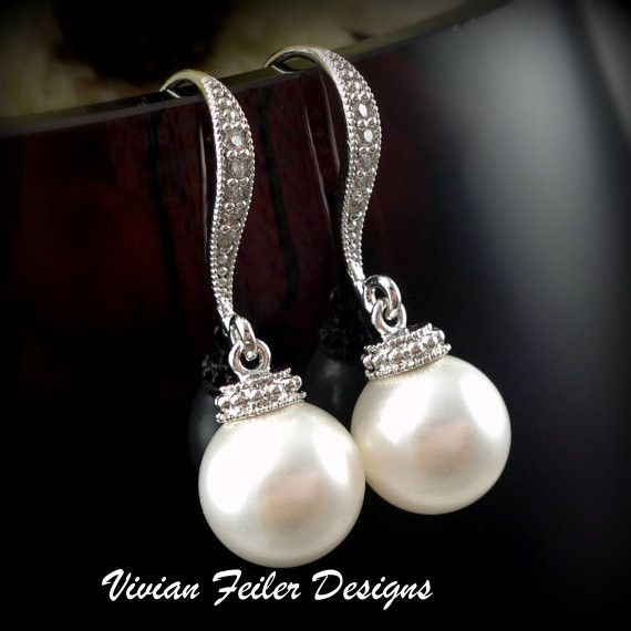 Pearl Earrings Bridal Cz Wedding Jewelry Bridesmaid Gift 33 99 Drop