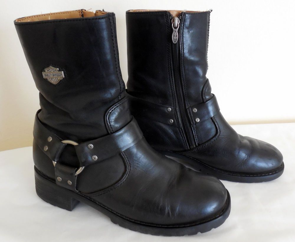 Details about Womens Harley Davidson Black Leather Boots