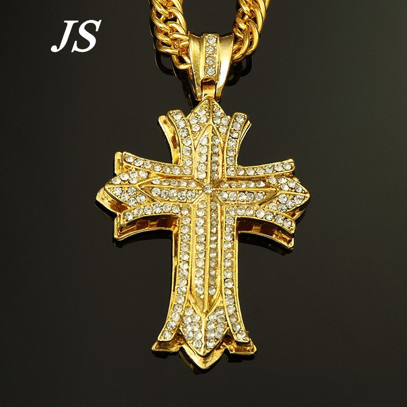 Js 90cm hip hop rapper cross pendant men chunky 24k gold silver js 90cm hip hop rapper cross pendant men chunky 24k gold silver plated cuban chain necklace aloadofball Gallery