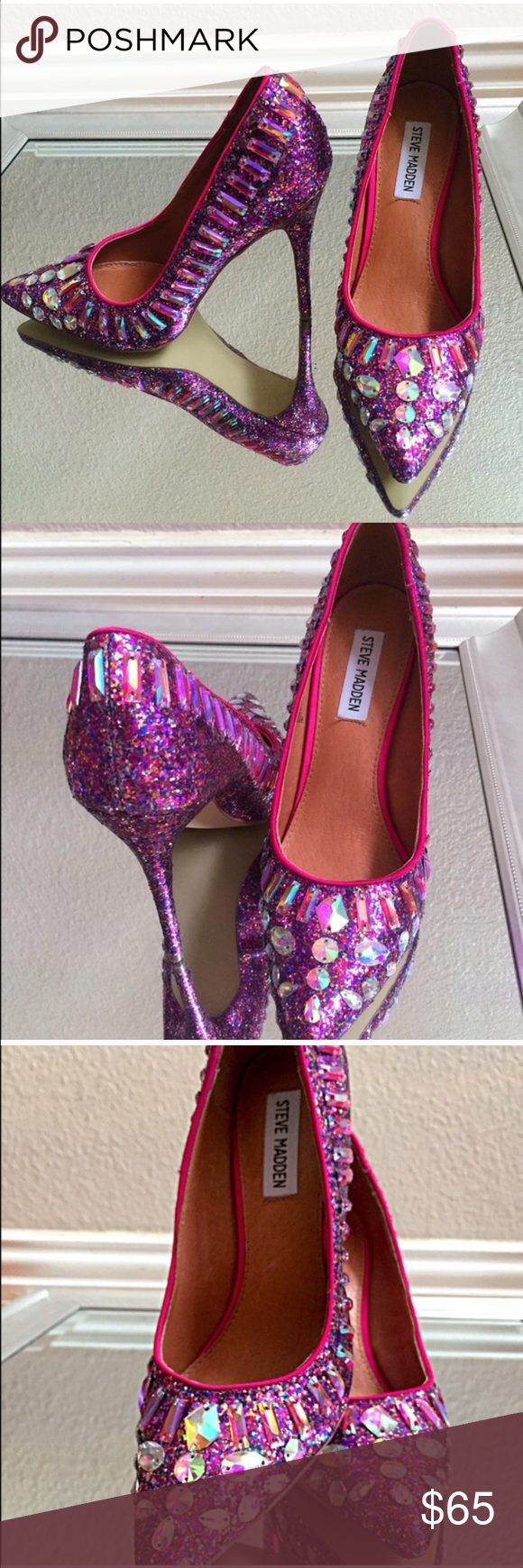 11fc5ff2d3ad8 Steve Madden Galaxy Heels. Fuchsia Steven Madden rhinestone heels. Tried on  one time and never worn outside. Comes with original box and packaging.