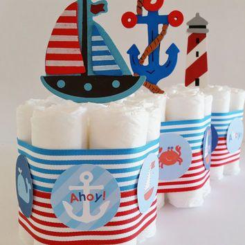 Nautical Baby Shower Centerpieces, Nautical Diaper Cake, Sailor Diaper  Cakes, Ahoy Itu0027s A