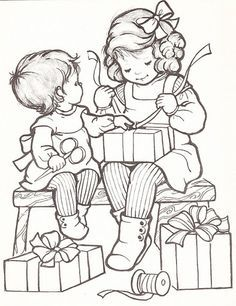 Coloring Page Vintage Christmas Children Google Search