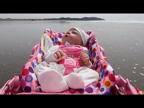 Reborn Baby Doll Goes to the Beach in Joovy Stroller and ...