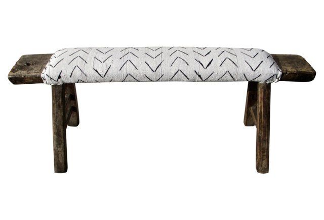 Sold Shandong Bench W African Mud Cloth