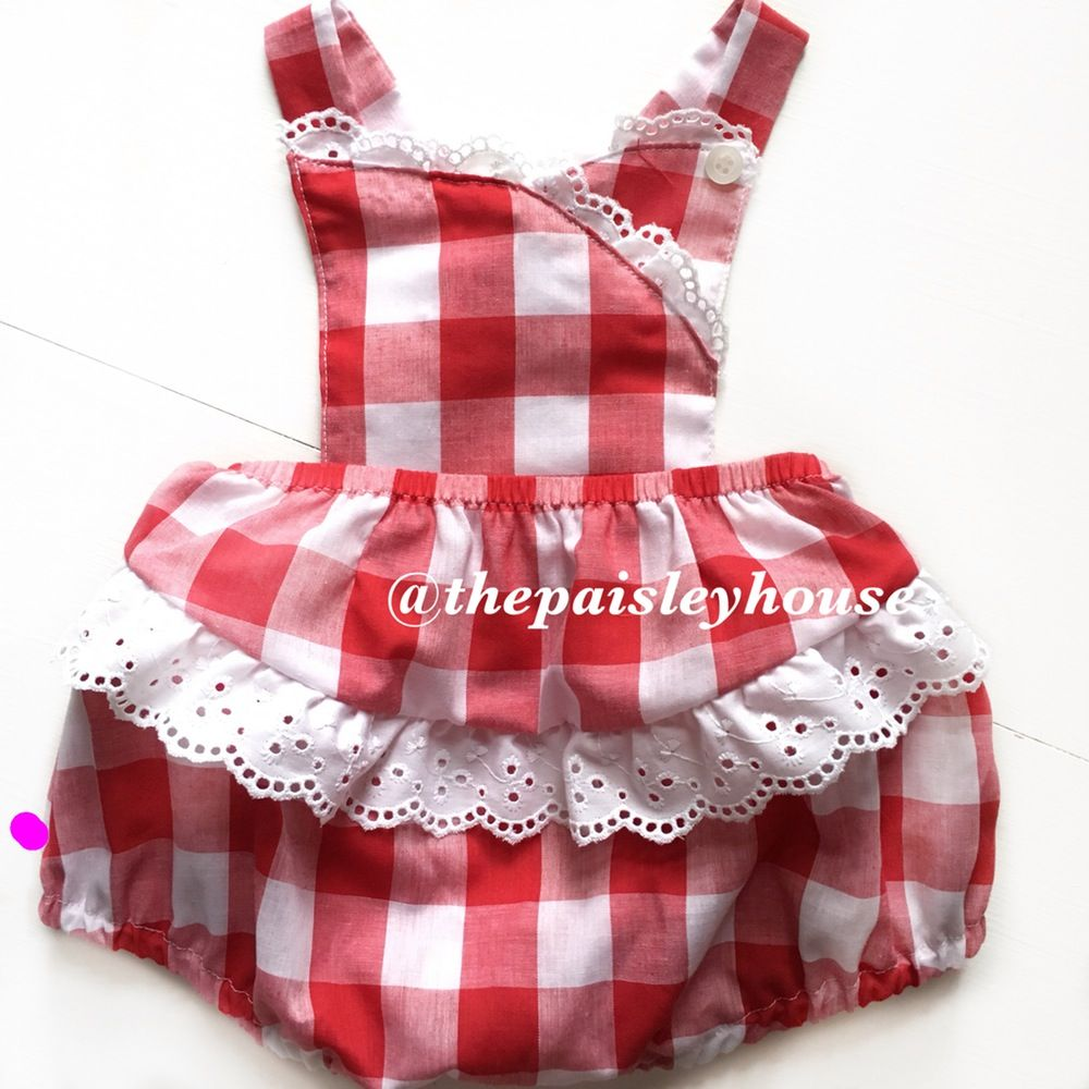 60b8c52af53 Piper Picnic Romper  thepaisleyhouse Vintage strawberry  thepaisleyhouse  baby sunsuit romper playsuit baby clothes 50s