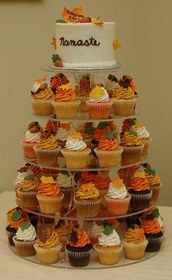 Tara S Cupcakes Autumn Wedding Cake And Cupcake Tower Fall Wedding Cakes Wedding Cupcakes Fall Wedding Cupcakes