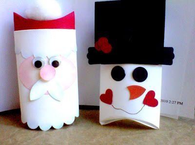 Caixas recicladas com personagens natalinos - Pra Gente Miúda