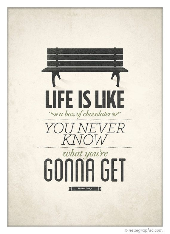 Life Is Like A Box Of Chocolates Forrest Gump Poster Rustic Art Amazing Life Quotes Posters