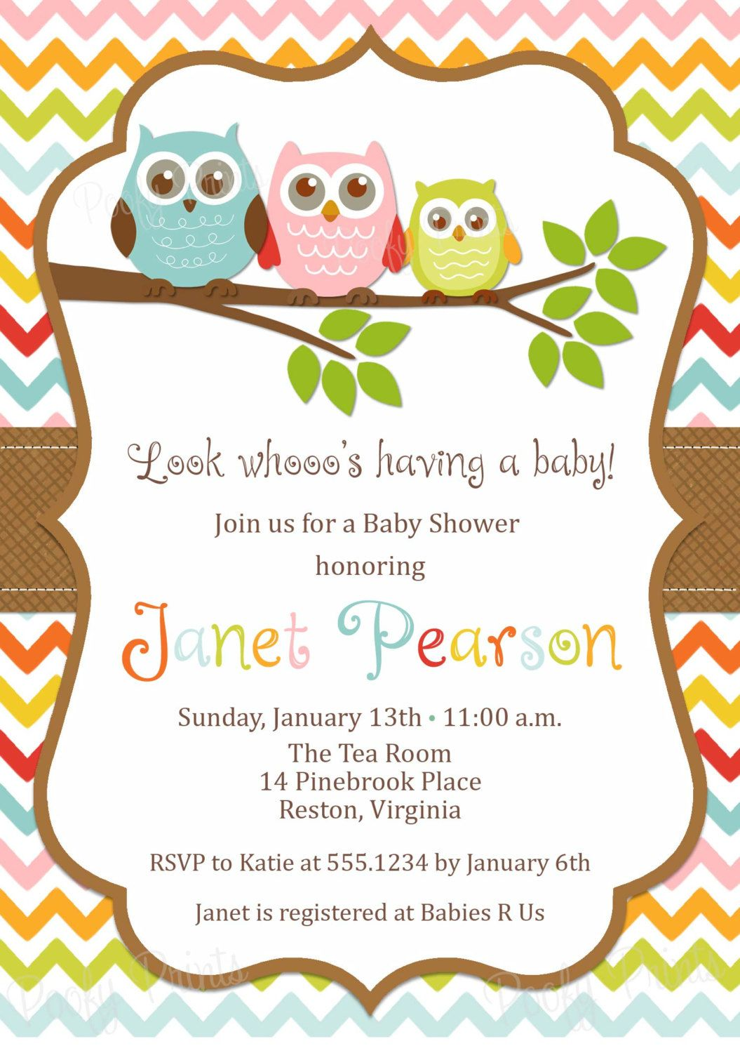 Owl Baby Shower Invitations - Etsy. | Baby shower\'s ideas ...