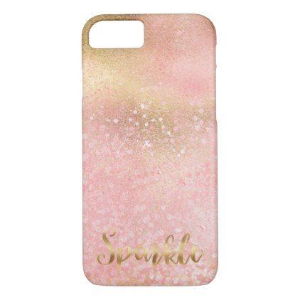 Glitzy Gold Pink Confetti Glam Sparkle iPhone 8/7 Case Confetti - confeti