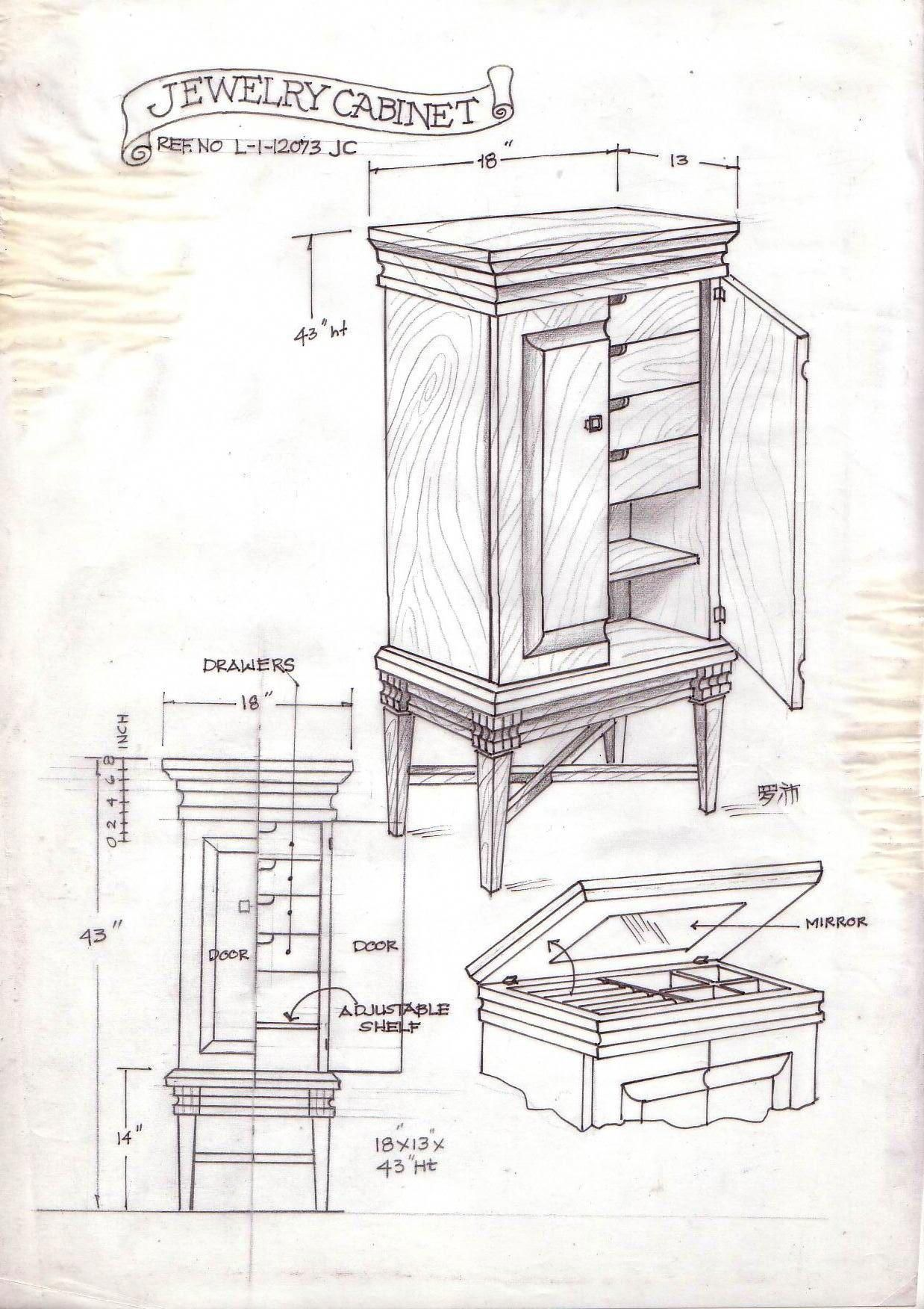 Freehand Drawing Of Furniture Designs By Lope Inario At Coroflot Com Drawingfurnitureplans Woodplansdrawing Miniaturen Planer Bilder