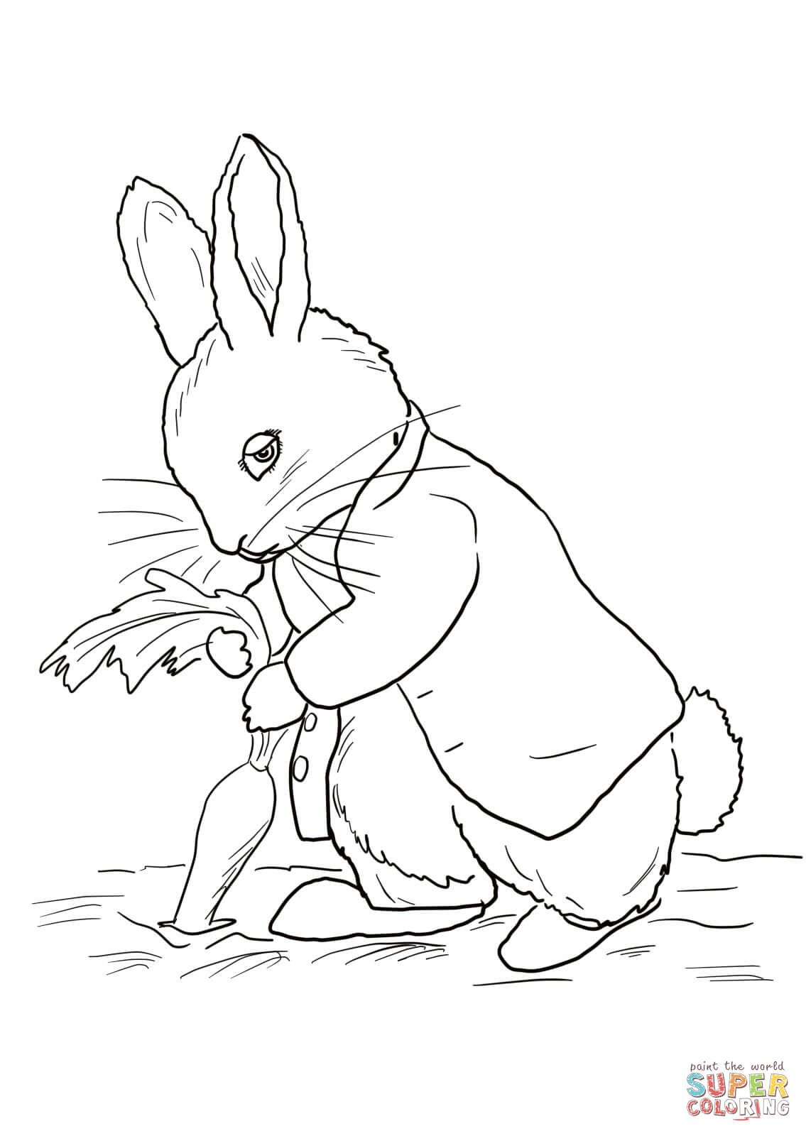 Peter Rabbit Stealing Carrots Coloring Page Free Printable Coloring Pages In 2020 Rabbit Colors Peter Rabbit And Friends Colouring Pages