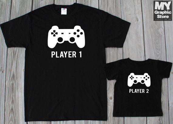 Gamer Shirt Daddy Son Matching Shirts Player 1 Player 2 Matching Shirts  Father… dd4ad8ac44f