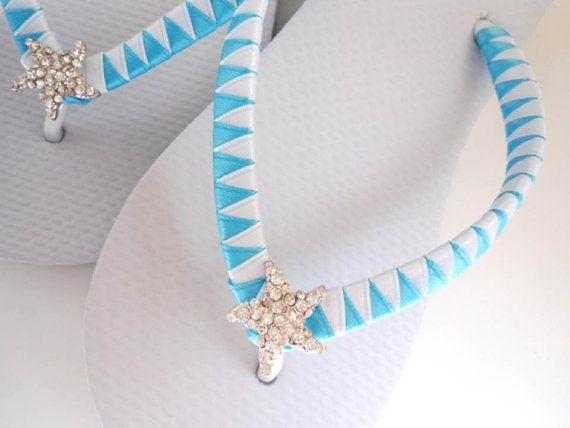 7898ff4f0115 Flip Flops w  baby starfish rhinestone great for bridesmaids