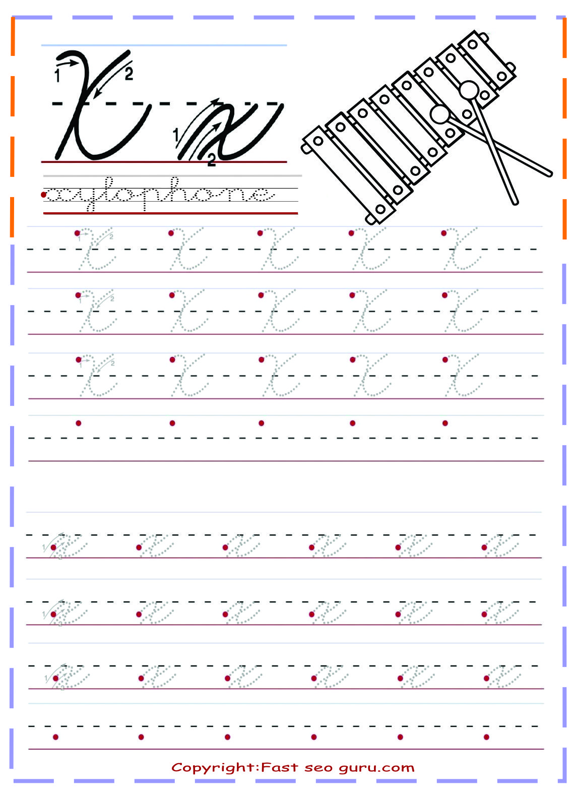cursive handwriting tracing worksheets letter x for ...