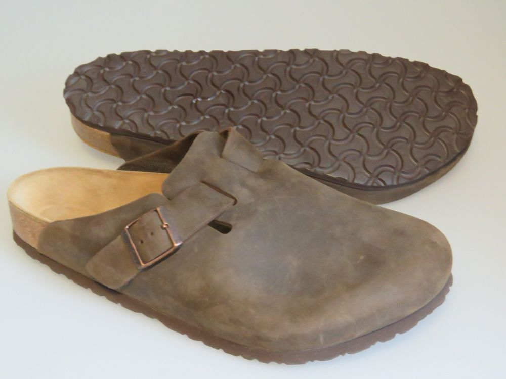 BIRKENSTOCK Boston Men's 44 US 11 /11.5 Suede Leather Clog - Brown Sandal