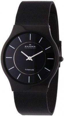 5786c33d838 Relógio Skagen Men s 233LTMB Black Titanium Mesh Bracelet Watch  Relogios   Skagen