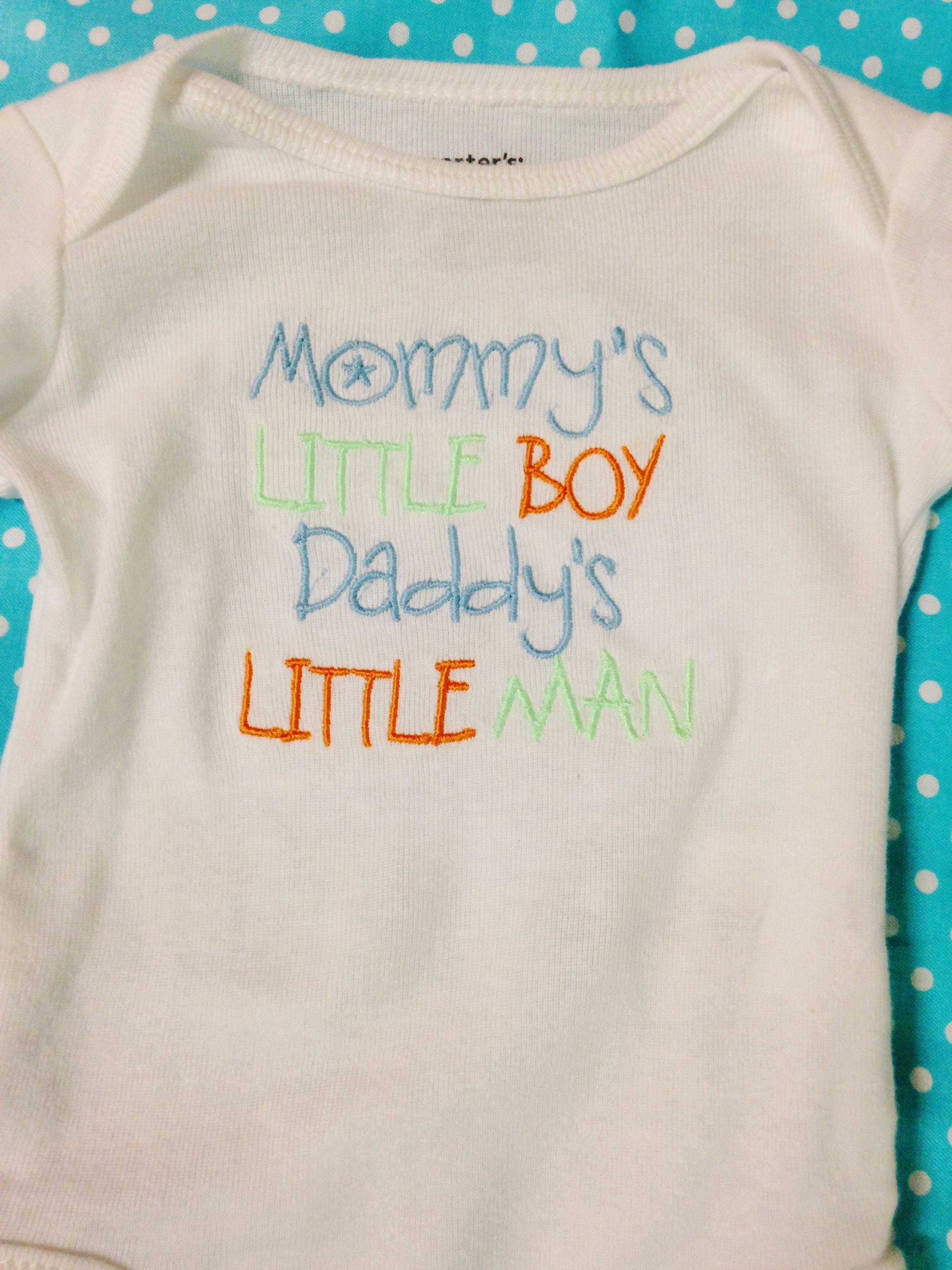 ffc18debb1b0 Mommy s Little Boy Daddy s Little Man - Embroidered Onesie