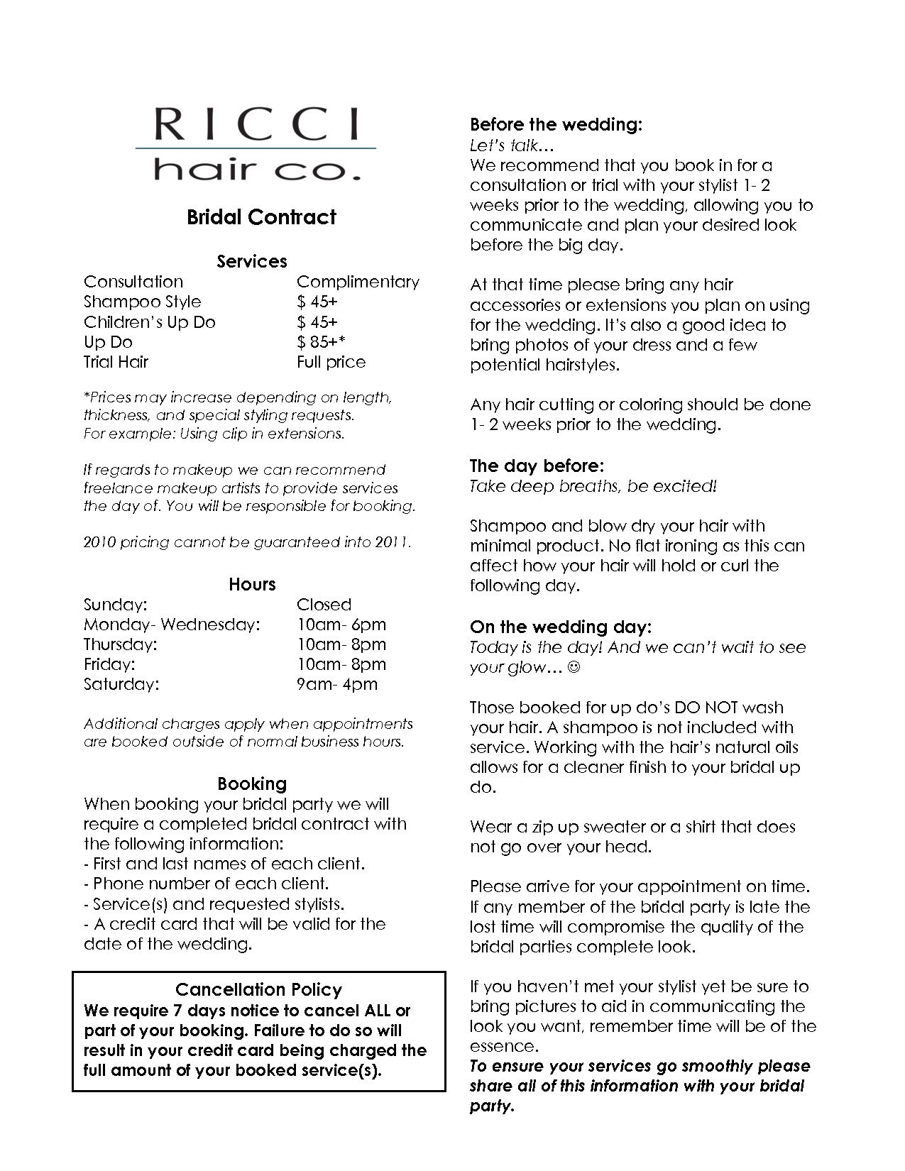 bridalhaircotract | bridal hair stylist contract | business
