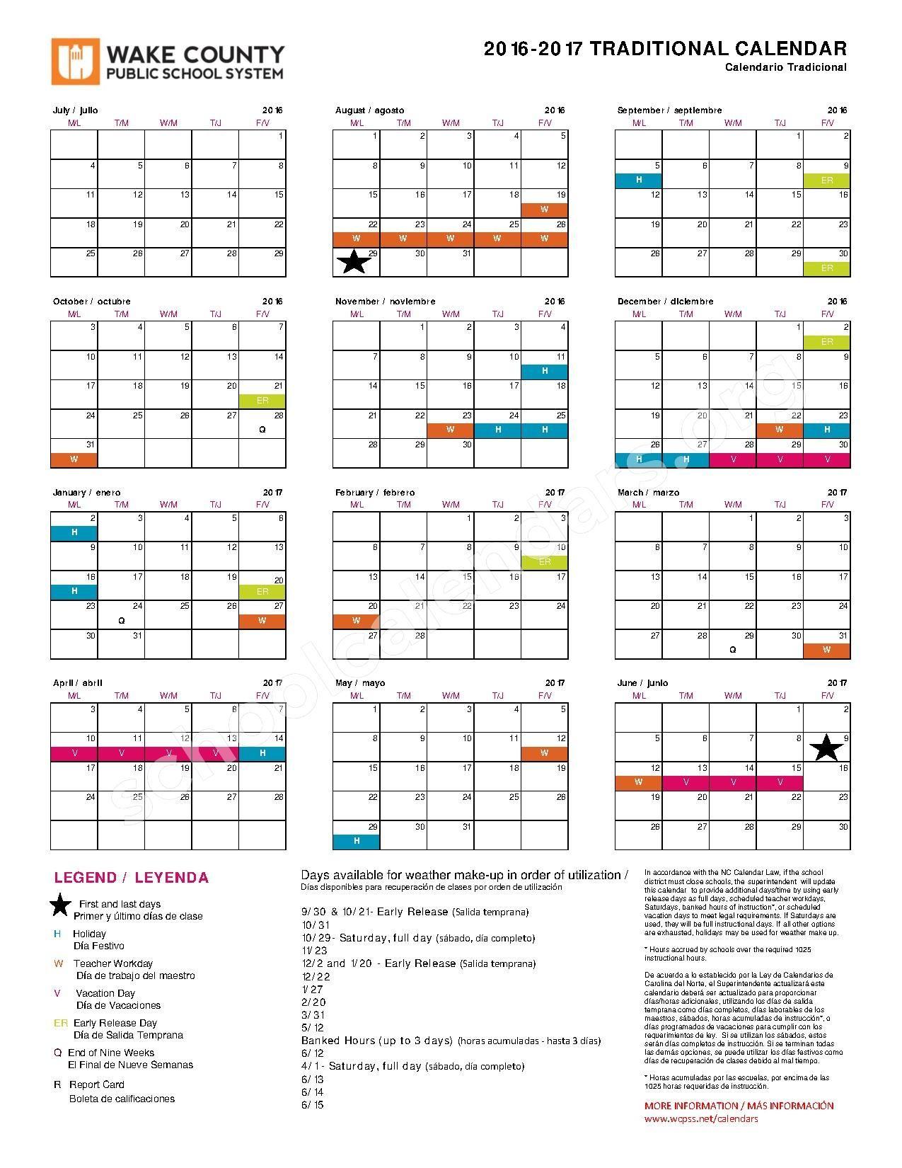 Wake County Public Schools Christmas Break 2020 Wake County Public School Calendar with Holidays https://