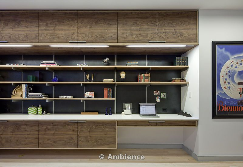 Idea For Pleasant Ave Open Up All The Closets And Add Something Like This Also Ads A Desk Work E Modern Walnut Built In Shelving Storage