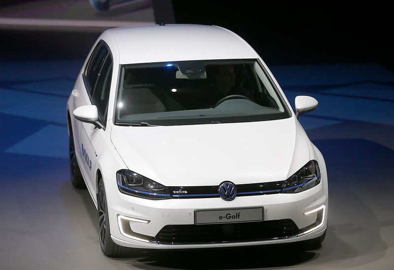 The new Volkswagen e-Golf displayed during a preview by the Volkswagen Group prior to the 65th Frankfurt Auto Show