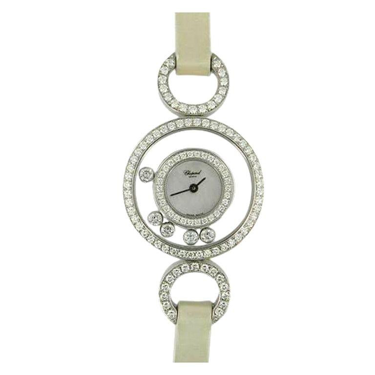 1stdibs | Chopard Lady's White Gold Happy Diamond Wristwatch