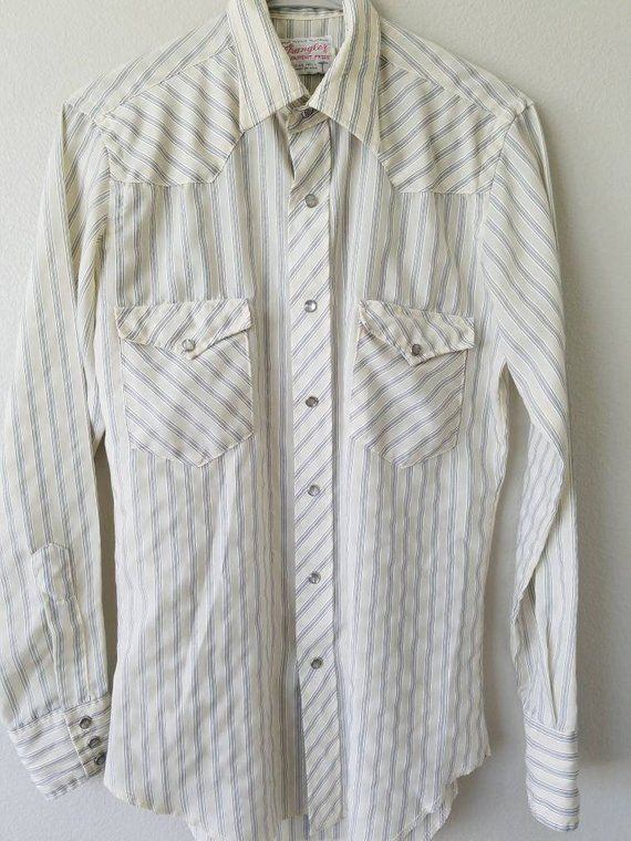 06780980d1995c 1960's Wranglers Men's Blue and White Striped Western Shirt With Pearl  Button Snaps