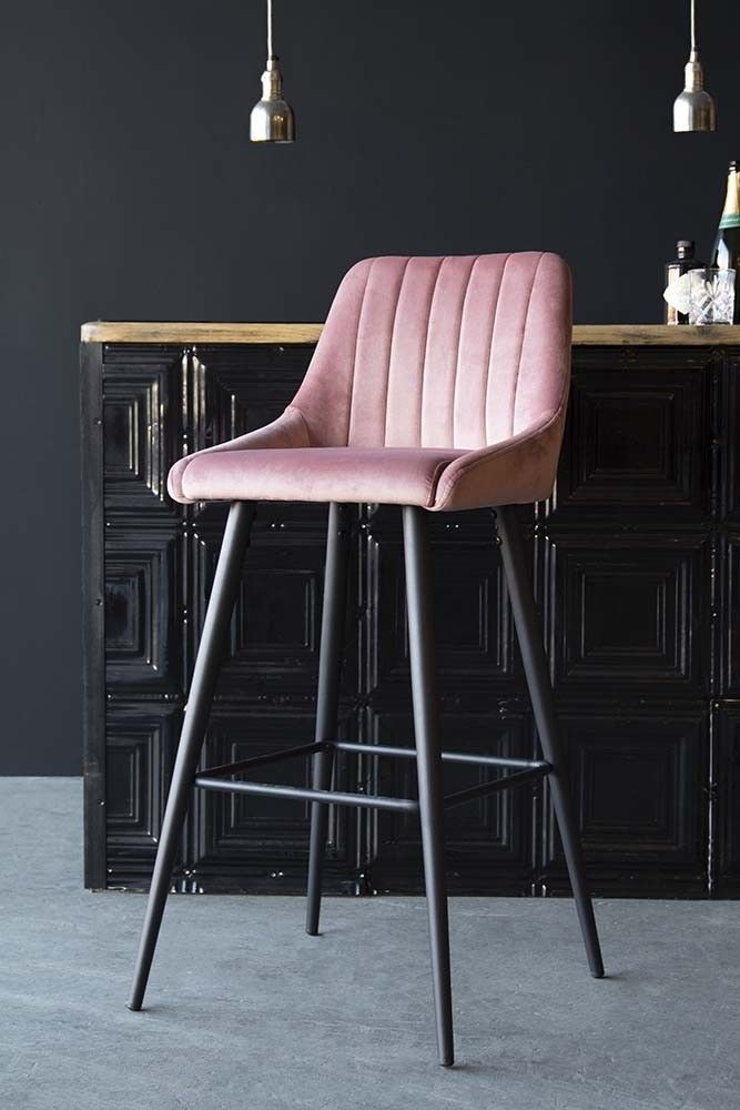 Tall Casino Velvet Bar Chair Rose Pink From Rockett St George