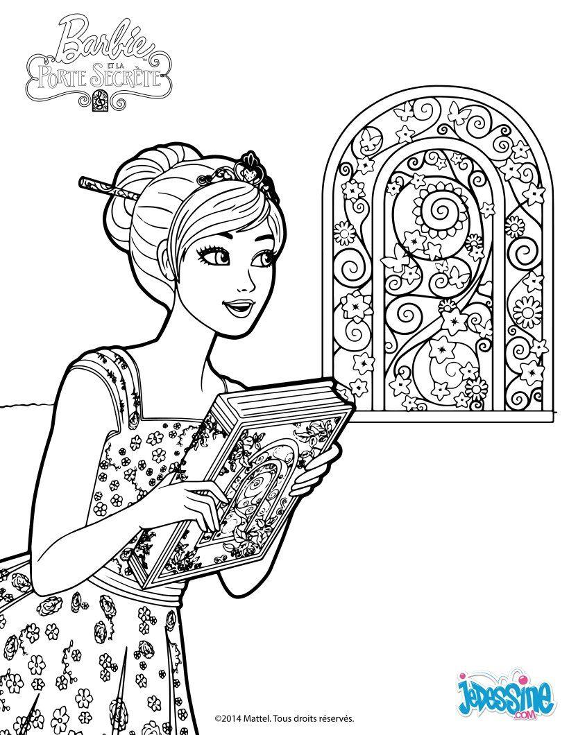 Barbie devant la porte magique avec un gros livre Un joli coloriage pour les fans