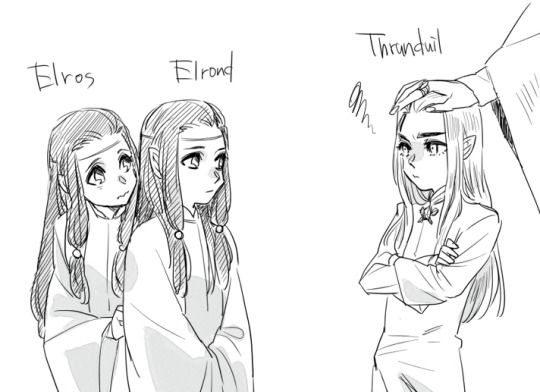 Thranduil with Elrond and Elros | King Thranduil and Prince Legolas