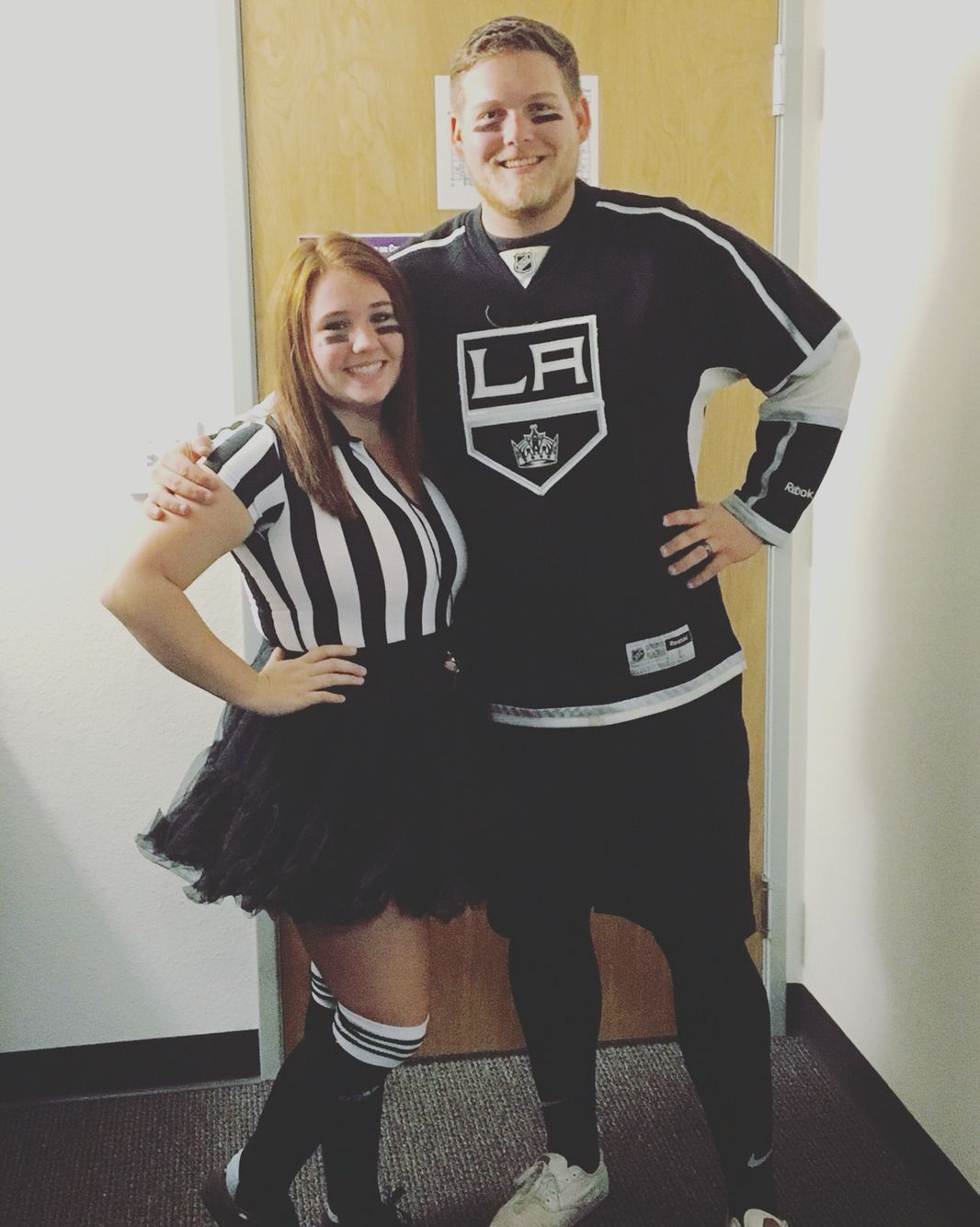 Referee And Hockey Player Halloween Costume Halloween Sports Goodwill Diy Halloween Costumes To Make Couple Halloween Couple Halloween Costumes