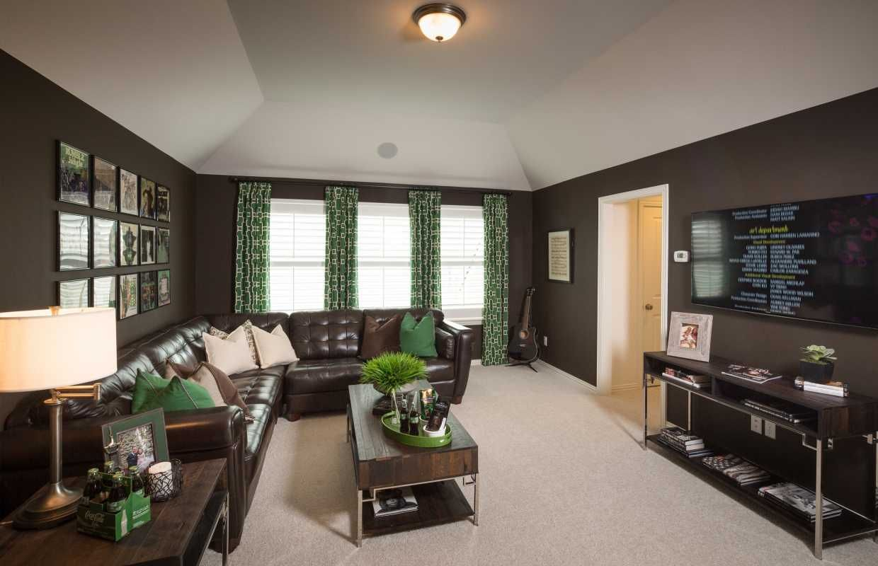 Imagine Curling Up For A Movie In This Great Media Room The Slate Grey Walls