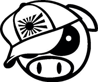 2x Angry Rally Pig With Japan Hat Decals Jdm Drift Subaru Funny